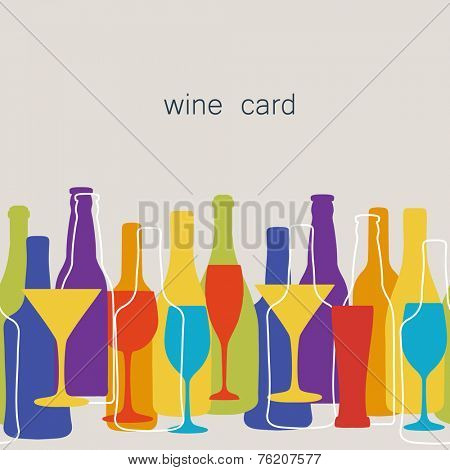 Vintage seamless pattern background for restaurant or cafe menu design. Wine, beer bottles and glasses silhouettes on different sizes and colors.
