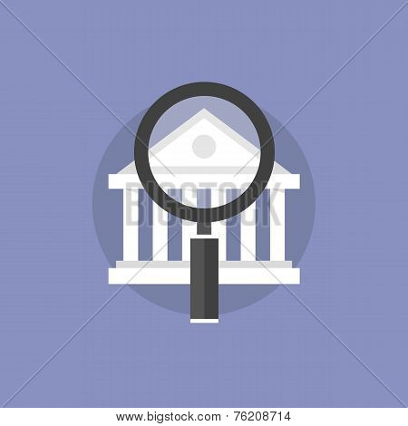 Financial Institution Analysis Flat Icon Illustration