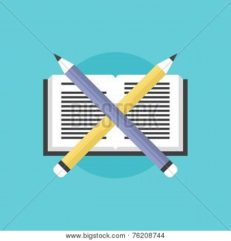 Reading And Learning Process Flat Icon Illustration