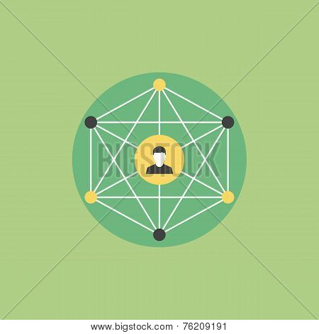 Social Networking Flat Icon Illustration