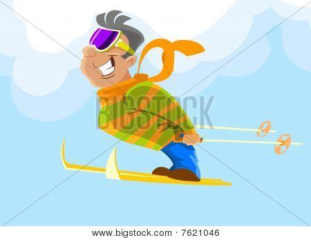 Skifahrer während ein Sprung
