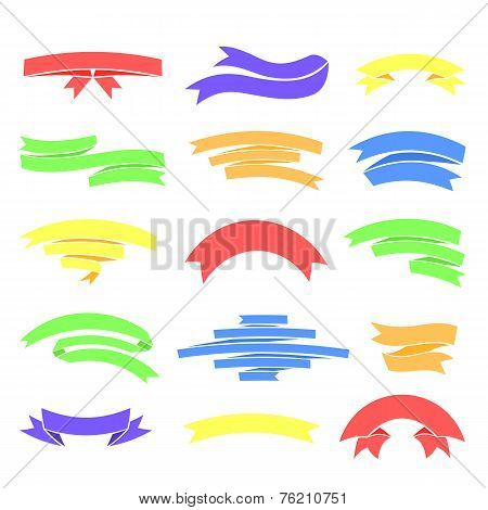 Vector colorful ribons set, isolaten on background