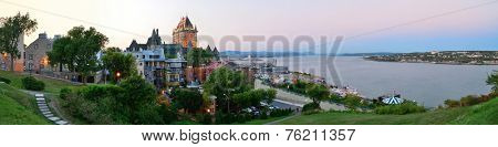 Quebec City skyline panorama with Chateau Frontenac at sunset viewed from hill