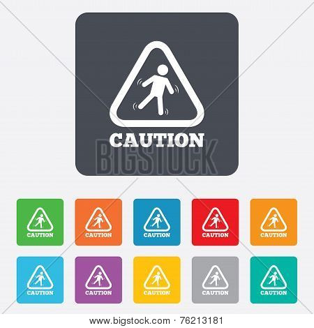 Caution wet floor icon. Human falling symbol.