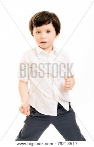 Little Boy In A Fighting Pose