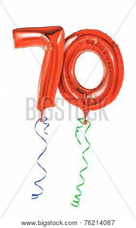 Red balloons with ribbon - Number 70