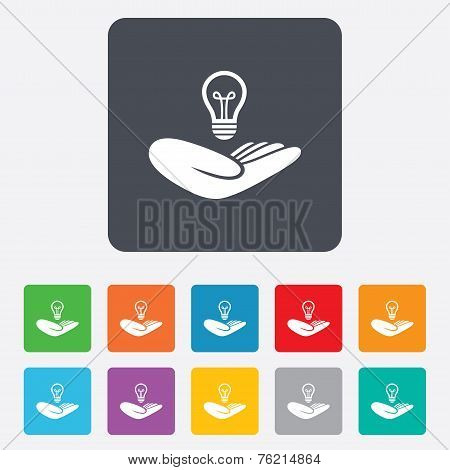 Idea insurance sign. Hand holds lamp bulb symbol