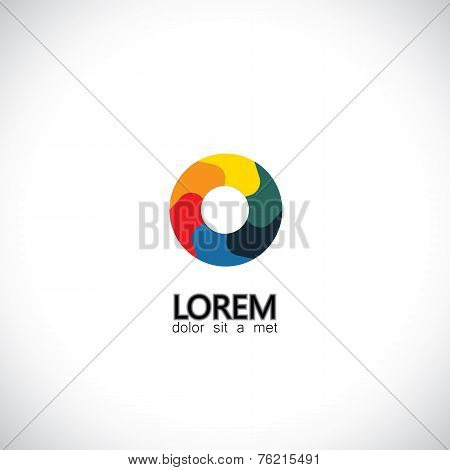 Abstract Shutter Aperture Camera Lens Icon - Concept Vector Graphic