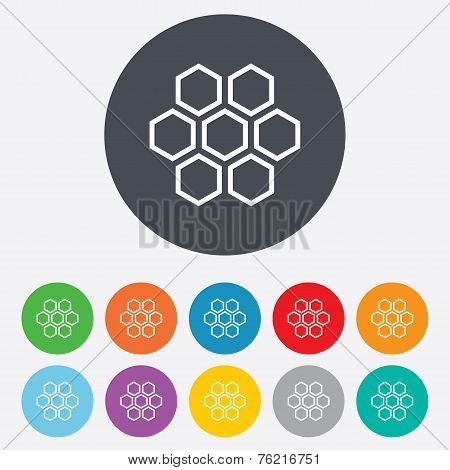 Honeycomb sign icon. Honey cells symbol.