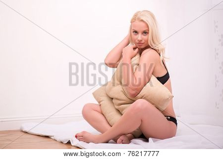 Sexy beautiful blond girl in underclothes