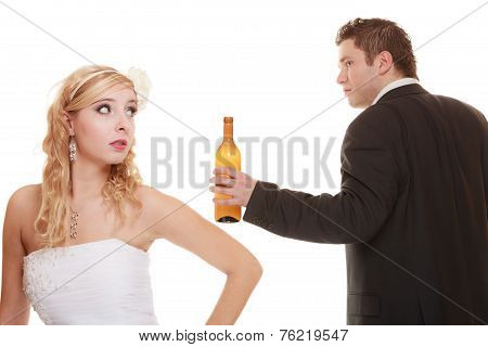 Wedding Couple, Bride With Alcoholic Drinking Groom.
