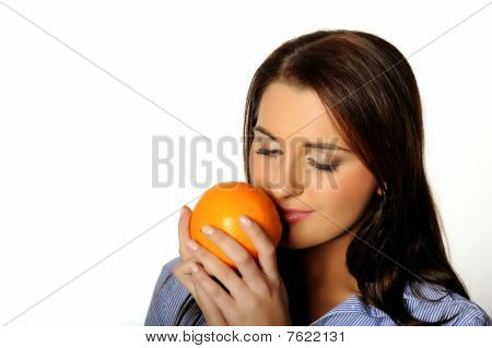 Young Beautiful Woman With Citrus Orange Fruit. Isolated On White Background. Copyspace