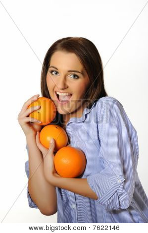 Young Beautiful Woman With Citrus Orange Fruit. Isolated On White Background