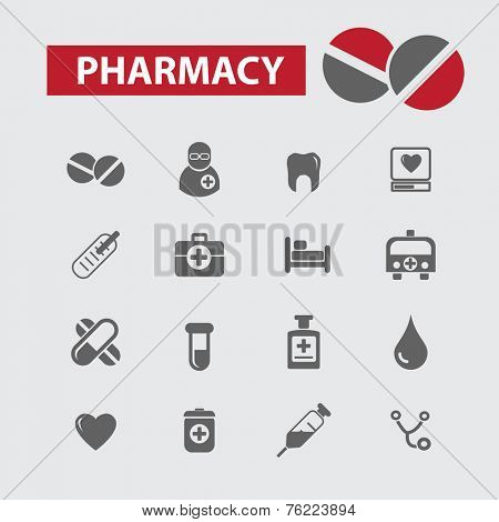 pharmacy, doctor black icons, signs, illustrations set, vector