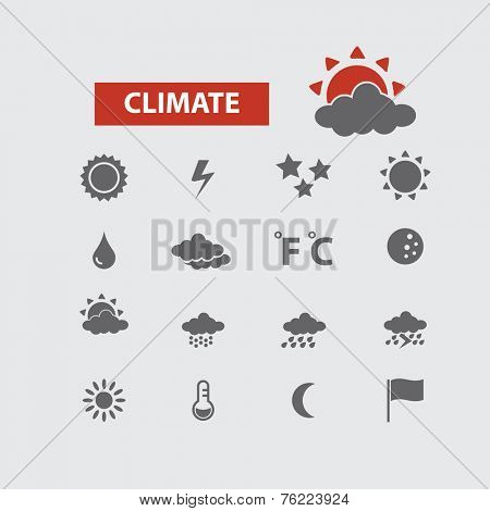 climate, weather black icons, signs, illustrations set, vector