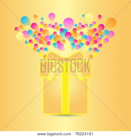 Beautiful Card With Present And Colorful Balloon