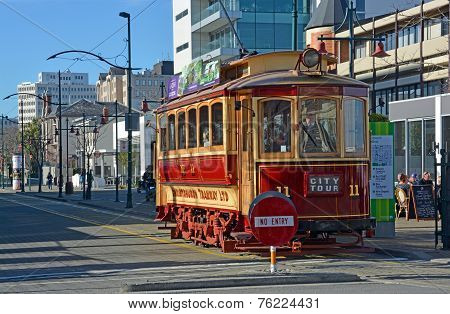 Vintage Tram On Worcester Boulevard Christchurch In Winter
