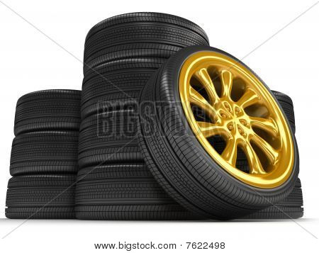 Wheels over white background. 3d render