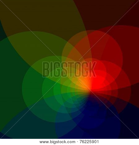 Abstract colorful background with copy space. Generative art red blue green. Web wallpaper design.