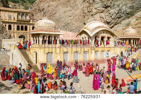 JAIPUR, INDIA - NOVEMBER 27, 2012: Galta Temple or Galtaji (also known as Monkeys temple) is an ancient Hindu pilgrimage site in the town of Khania-Balaji, in the Indian Rajasthan