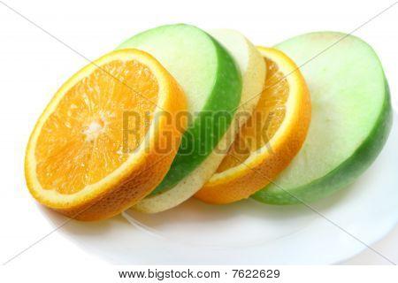 Fruit  Orange, Green Apple And Pear