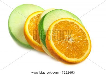 Fruit  Orange, Green Apple And Pear