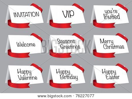 White Greeting And Invitation Cards With Red Ribbon Vector