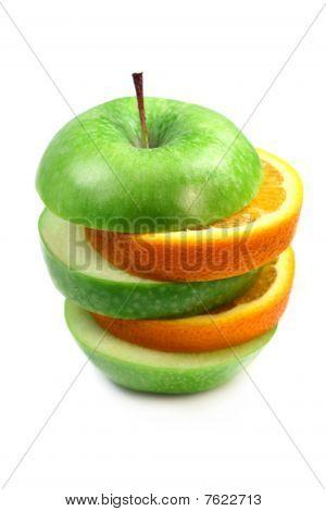 Fruit  Orange And Apple In Pyramid