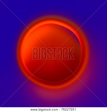 Abstract Concentric Circle Design - Lava Crater - Fiery Red Hole On Blue Background - Artistic Surre