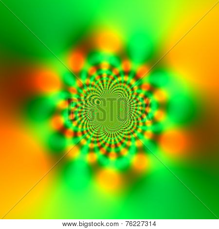 Abstract Science Fiction Futuristic Background - Glowing Yellow And Green - Sparkling Light Effect -