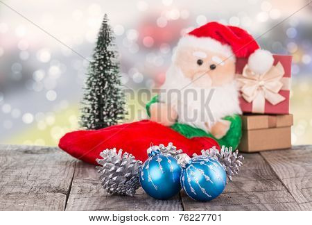 Christmas Baubles And Santa Claus Toy