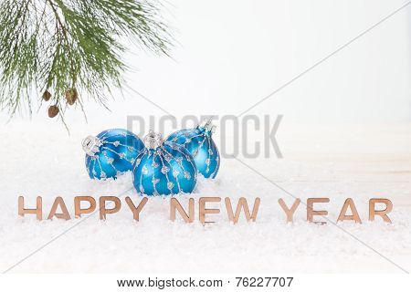 Blue Christmas Baubles And Happy New Year Wishes