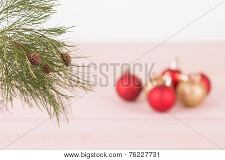 Pine Tree Branch With Red And Gold Christmas Baubles
