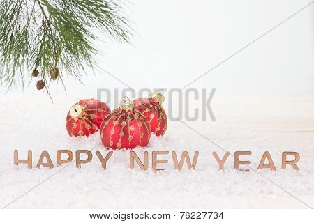Red Christmas Baubles And Happy New Year Wishes