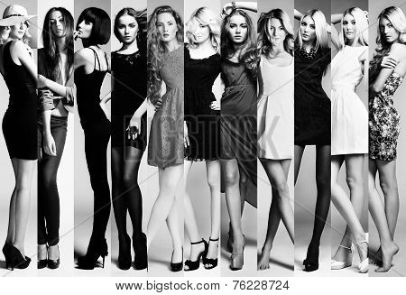 Fashion Collage. Group Of Beautiful Young Women
