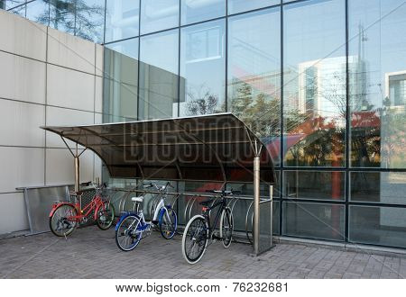bicycle shed in modern building
