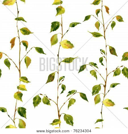 Seamless pattern with birch branches