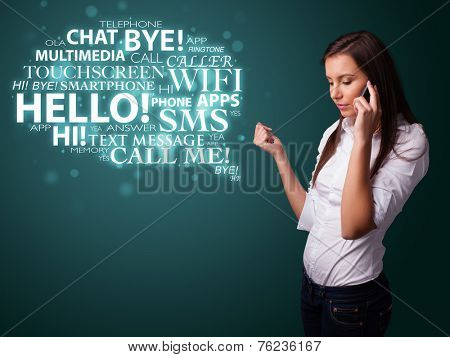 Pretty young girl calling by phone with word cloud