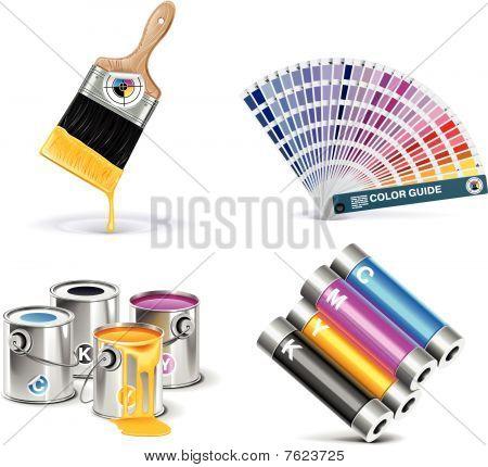Conjunto de ícones do vetor loja de impressão.