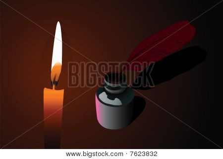 Vector illustration of candle and ink pen into phial
