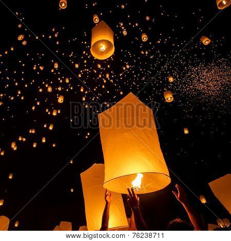 Floating lanterns during Yi Peng Festival in Chiang Mai, Thailand