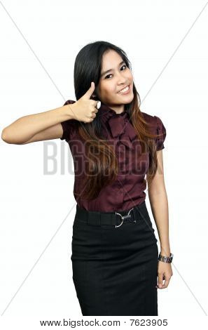 Young Woman With Thumb Up