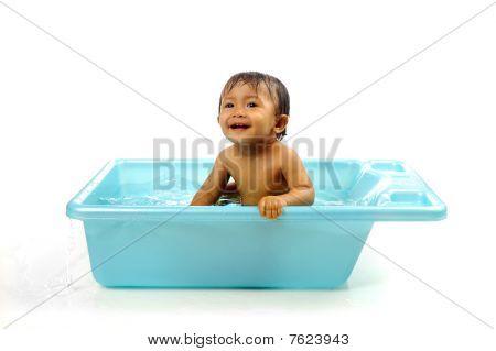 Baby Girl Take A Bath