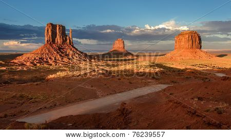 Three rocks in the Monument Valley.