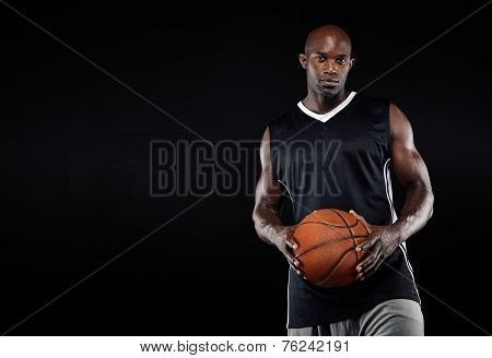 Black Basketball Player With Ball