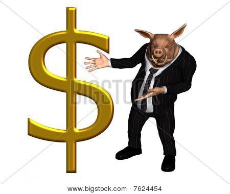 Pig dressed as a business man with large gold dollar sign