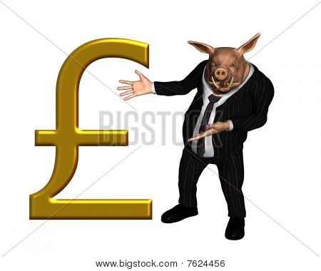 Pig dressed as a business man with large gold pound sterling sign