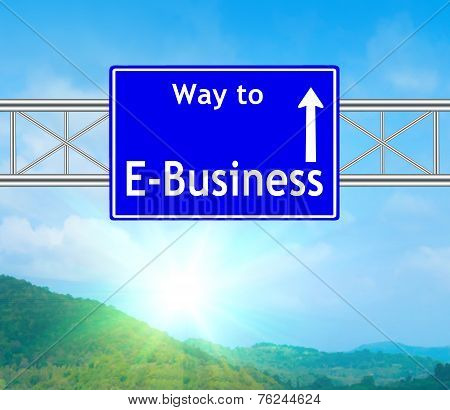E-business Blue Road Sign
