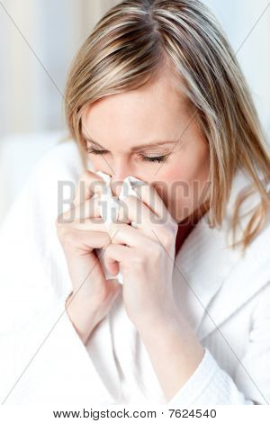 Sick Woman Blowing