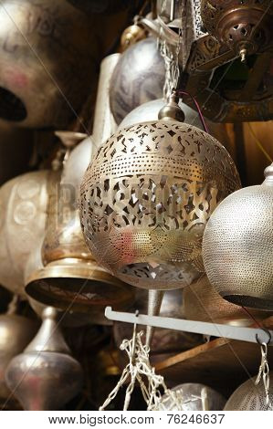 lamps, crafts, souvenirs  in street shop in cairo, egypt